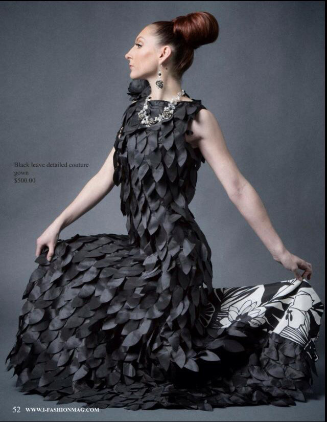 Drea Designs Couture Black Leaves Dress Magazine File name:
