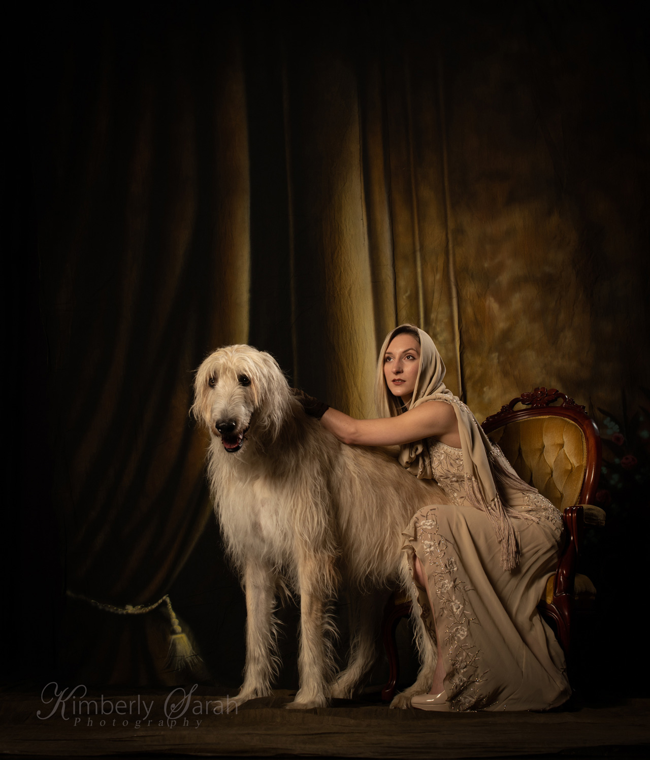 irish wolfhound, 20s style, fashion photography, new england