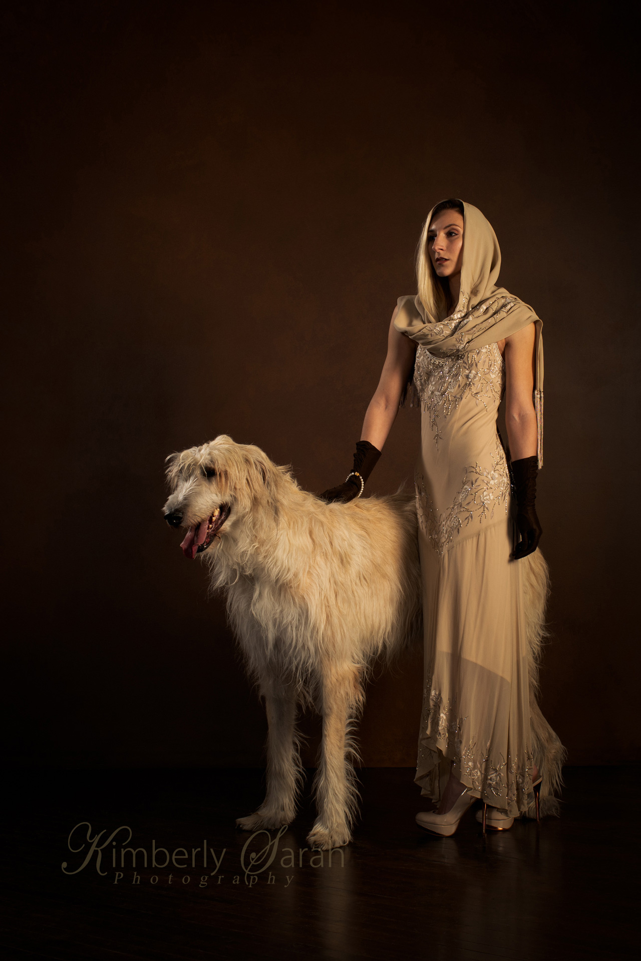1920s fashion, irish wolfhound, kimberly sarah photography, dog photography