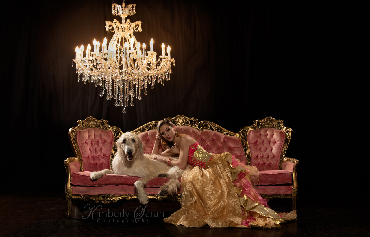 irish wolfhound, kimberly sarah photography, dog photography, pink, editorial fashion, dog photography