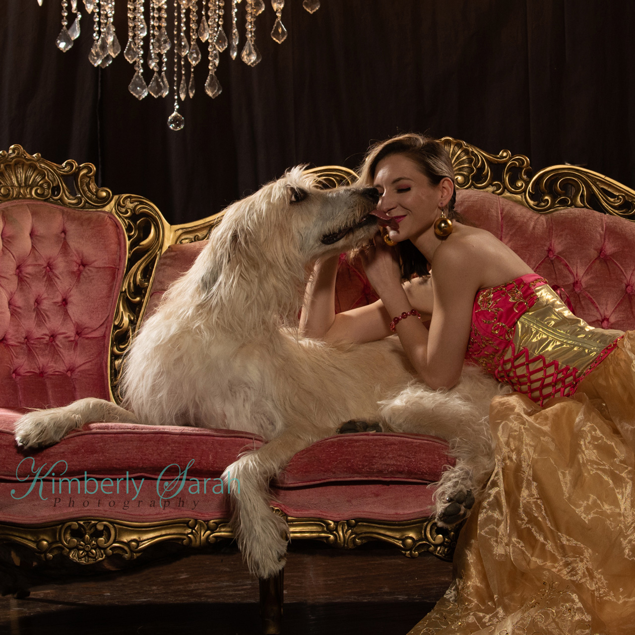 kimberly sarah photography, dog photography, outtakes, bts, puppy love, irish wolfhound, kisses, editorial fashion