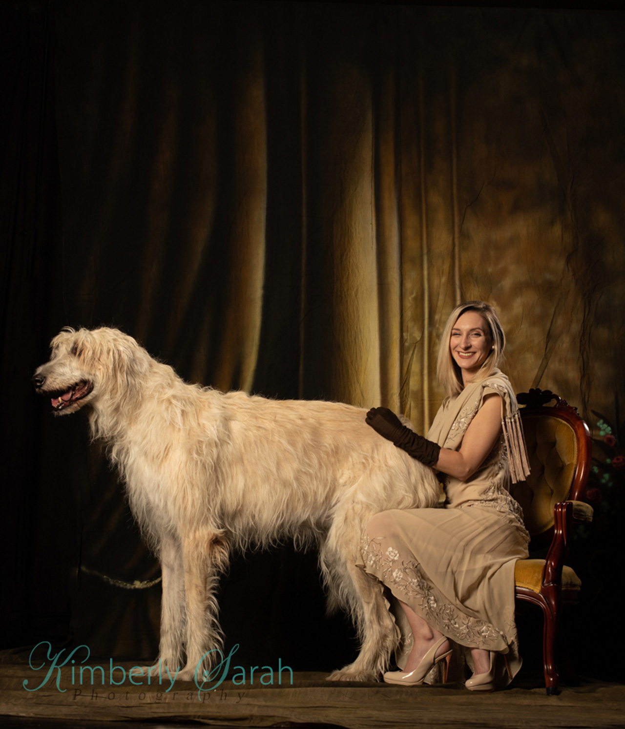 kimberly sarah photography, irish wolfhound, bts, outtakes, fashion, 20s style